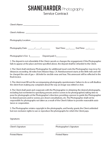 Contract Shane Harder Photography - photography services contract