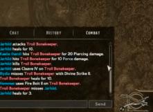 Combat log screenshot
