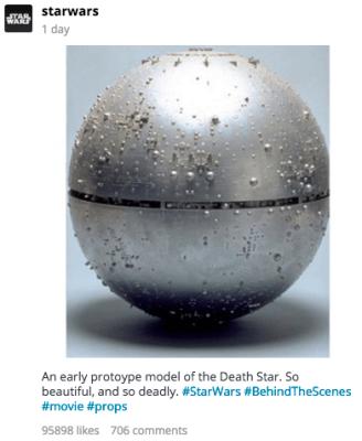 Star Wars instagram Death Star prototype model