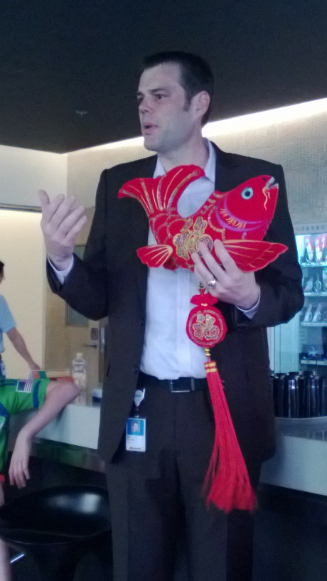 I was asked by the leadership team in Shanghai to deliver a presentation about how to work well with Westerners.  Of course, I had to wear my new tailored suit, but since this was at the end of the day, my shirt had gotten a bit frumpy.  Oh, well.  The fish was a present to me and is now hanging in the house.  It's a symbol of unity and fidelity, which was appropriate given my speech and the color red  to ward off evil spirits.  Ain't nobody got time for evil spirits.