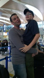 Doesn't Ever Leave The Airport. This is what happens after standing in line for as long as we did. I had to prove to Noah that he was still my baby and I could carry him if I wanted to... I do have to say that Delta made things a little better for us. I wrote them a letter with suggestions for improving their customer experience and they gave us a $200 coupon for a later flight. Sweet!