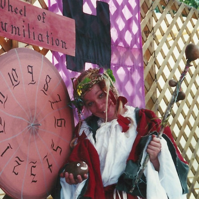 The Mistress of the Goal at the 2001 Bay Area Renaissance Festival.
