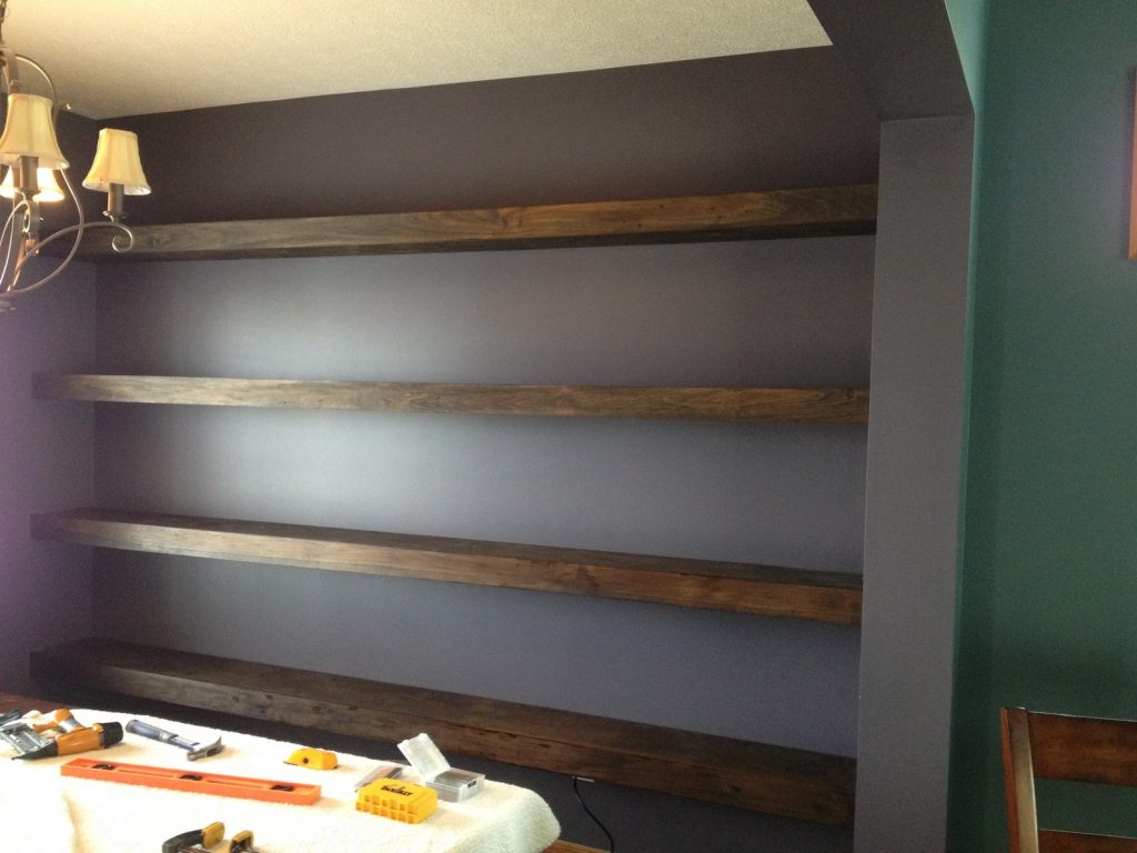 Dining Room Wall Shelves Wall To Wall Floating Shelves In Dining Room Shanty 2 Chic