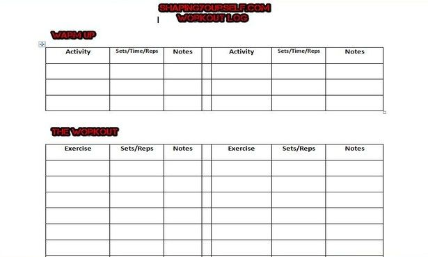 cardio workout log - Baskanidai - Weight Training Log Template