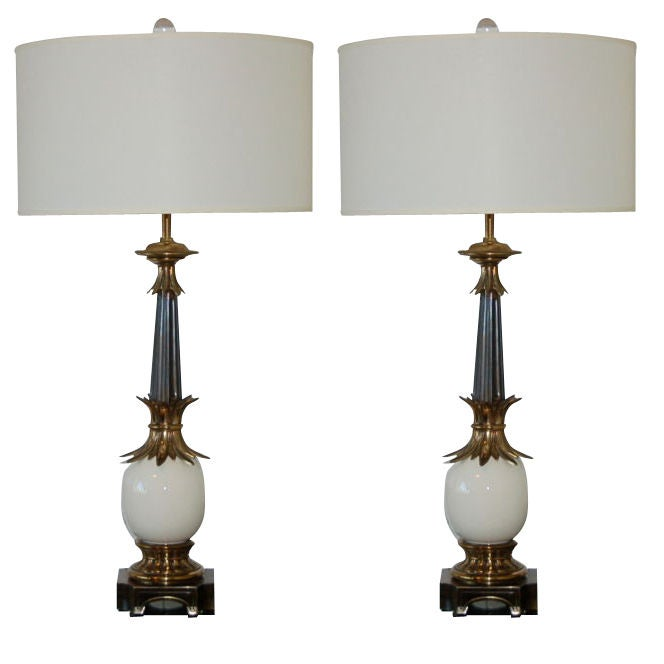 Stiffel Ostrich Egg Lamps from the 1950s at 1stdibs