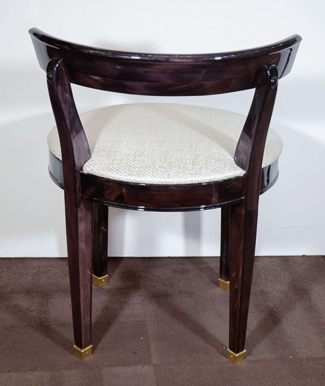 Vanity Seat With Back Art Deco Vanity Chair With Low Back Design In Ebonized