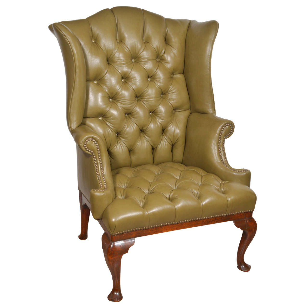 18th Century English Tufted Leather Queen Anne Wing Chair - Leather Queen Chair