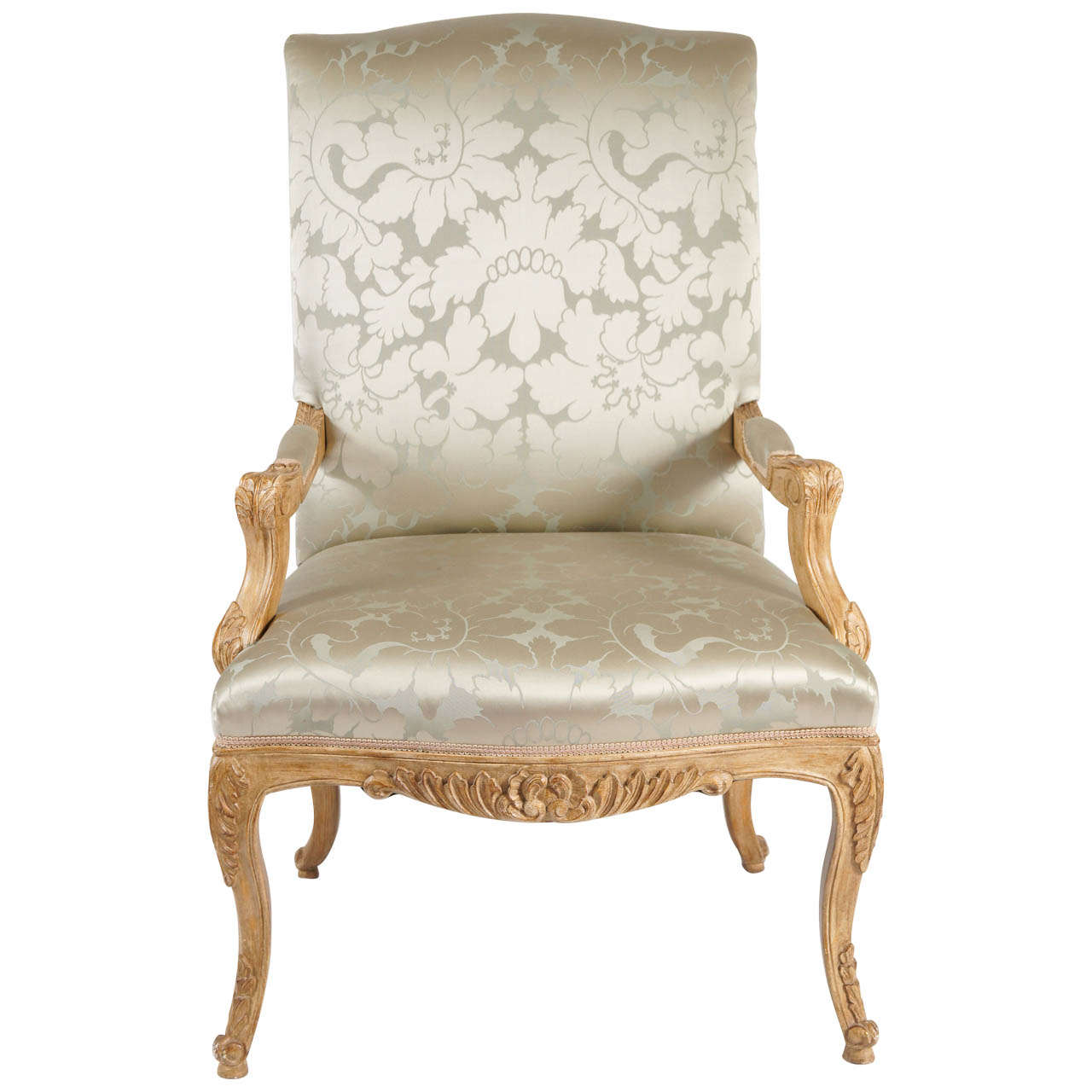 Louis The 14th Furniture Louis Xiv Style Chair Silk Damask Upholstery At 1stdibs