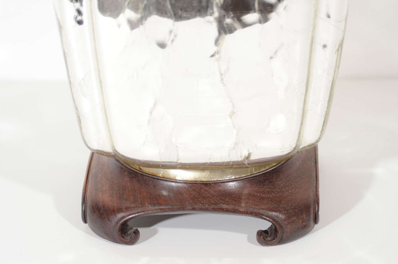 Elegant Mercury Glass Ginger Jar Table Lamp with Carved