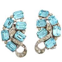 """""""Blue Topaz"""" Clip Earrings at 1stdibs"""