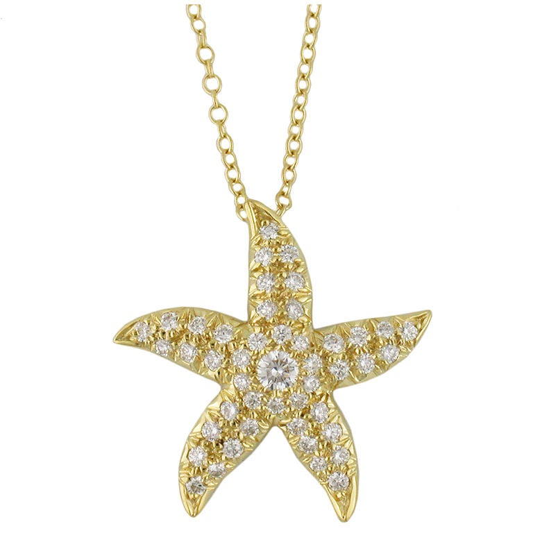 Diamond And Gold Starfish Pendant At 1stdibs