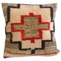 Square Navajo Geometric Saddle Blanket Pillow at 1stdibs