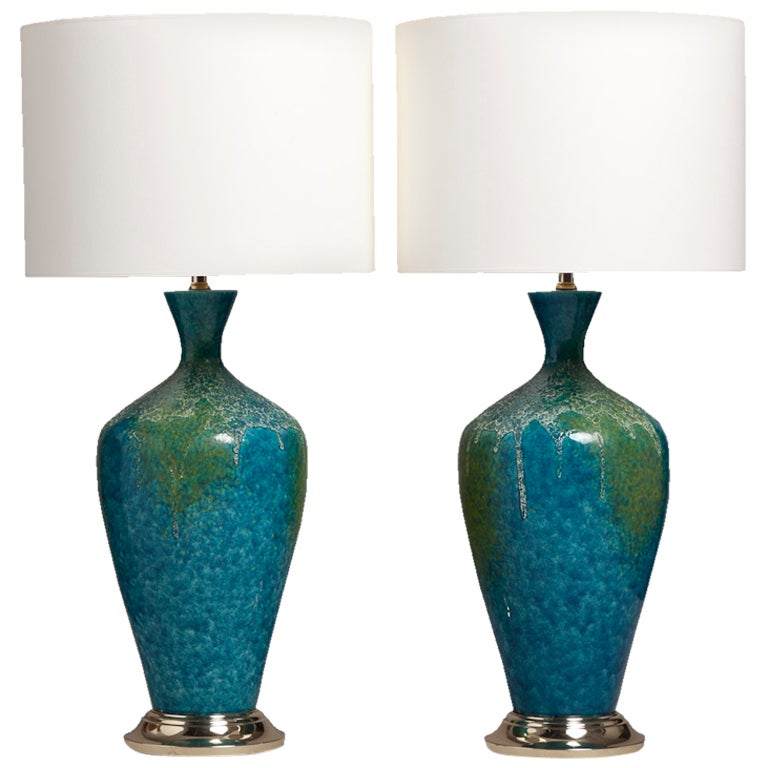 Pair of blue and green textured ceramic table lamps at 1stdibs