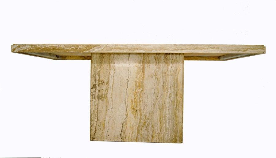 Modern italian marble or travertine pedestal dining table