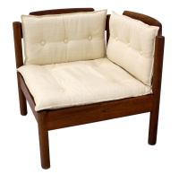 Danish Mid Century Modern Solid Teak Corner Chair at 1stdibs