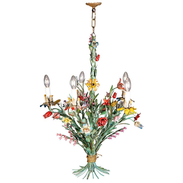 Tulips Flower Uk A Fine Painted Tole Flower Chandelier At 1stdibs