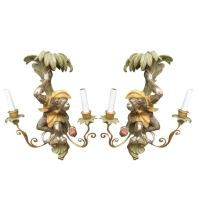 Pair of Carved Wood Monkey Sconces at 1stdibs