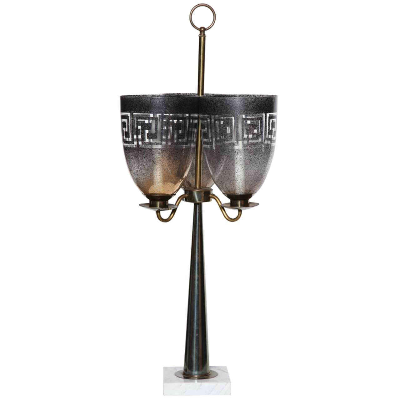 Stiffel Table triple Hurricane Shade Lamp
