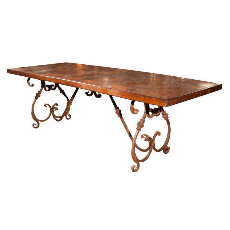 Rot Iron Furniture Wrought Iron Base Wood Top Dining Table at 1stdibs
