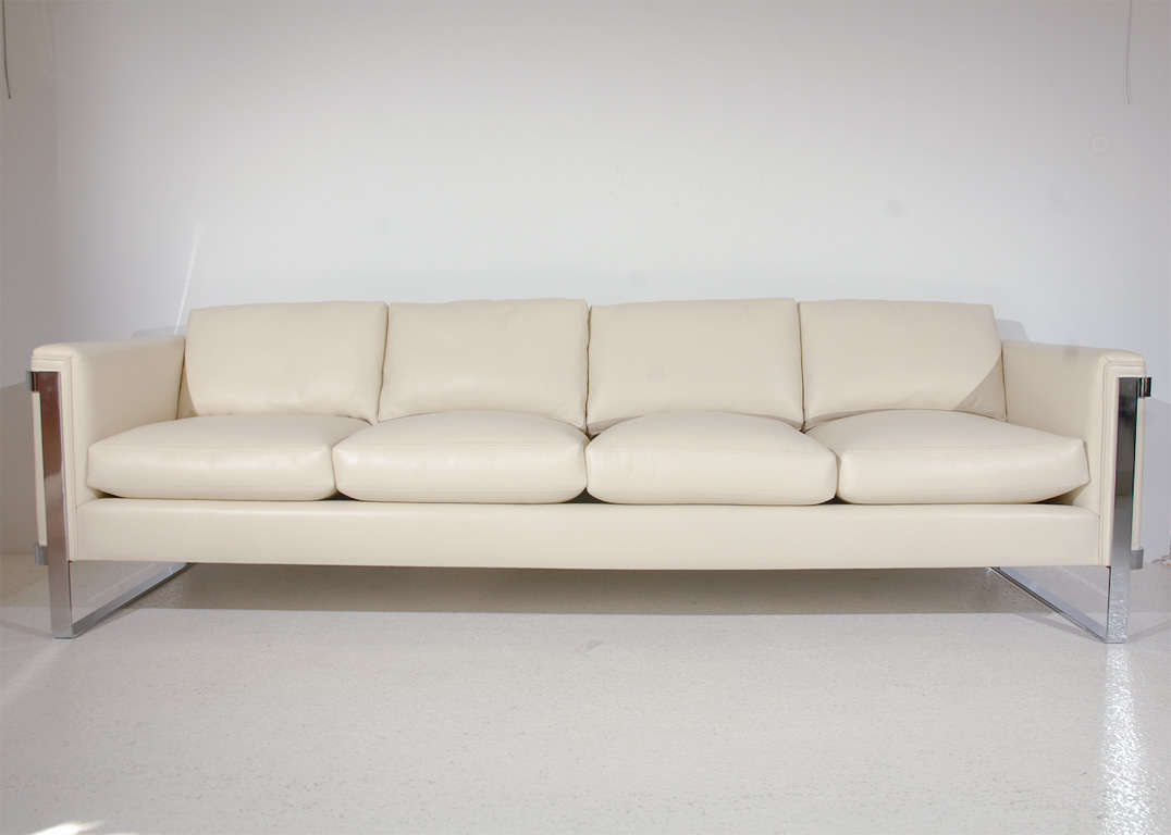 Sleek Leather Couch Sleek Polished Stainless Steel And Leather Sofa At 1stdibs