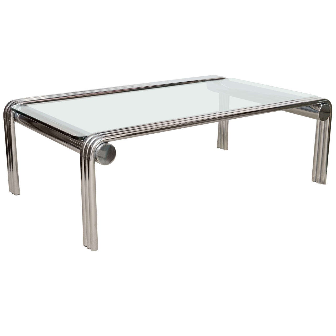 Chrome Coffee Table Mid Century Tubular Chrome And Glass Coffee Table At 1stdibs