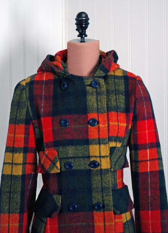 Bulk Rainbow Jewelry 1970 39;s Colorful Rainbow Plaid Wool Double Breasted Hooded