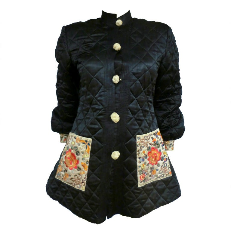 Art Deco Style Jackets 1920's Art Deco Chinese Quilted Silk Satin And Embroidered