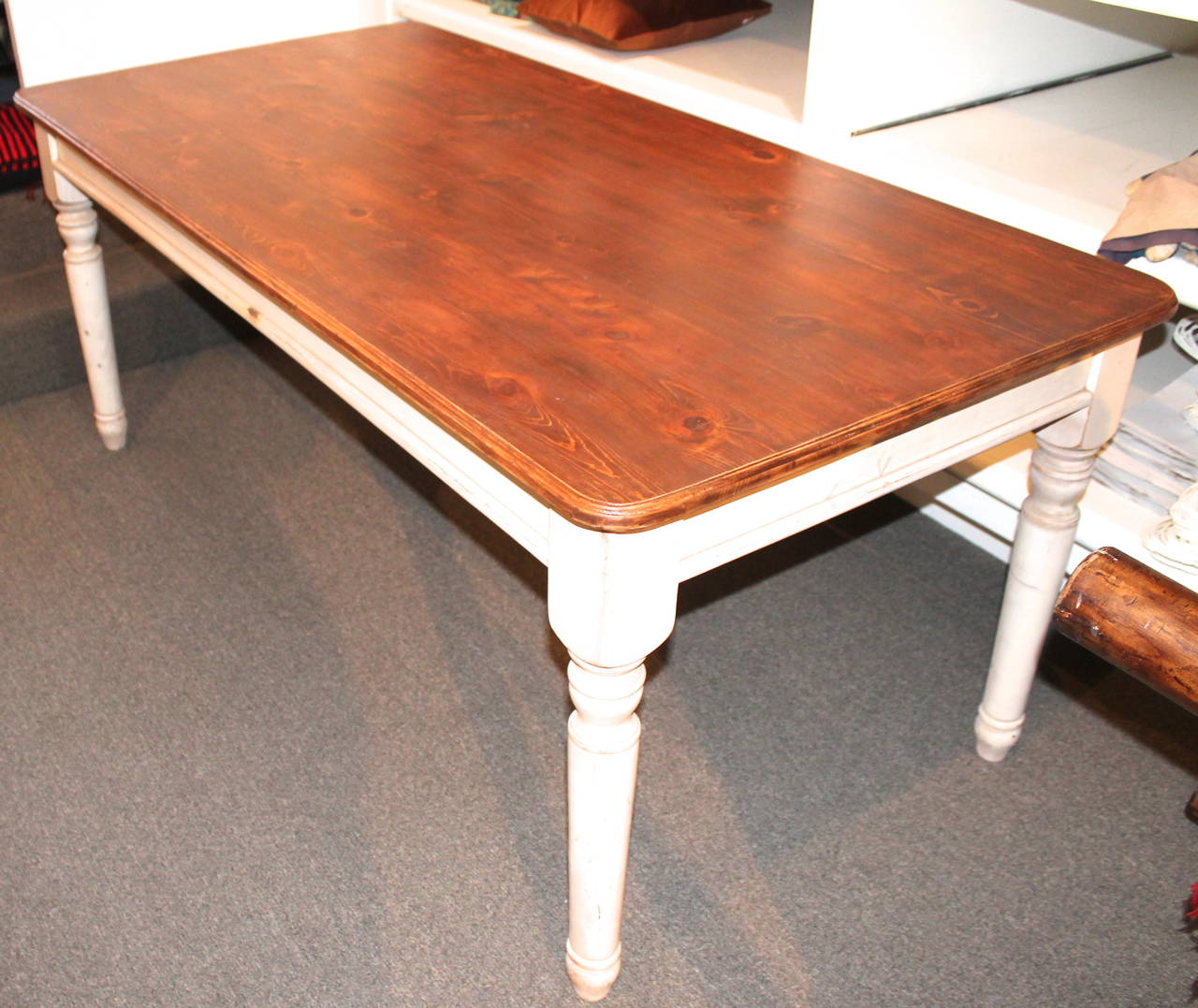White Harvest Table Fantastic 20th Century Handmade And White Painted Base