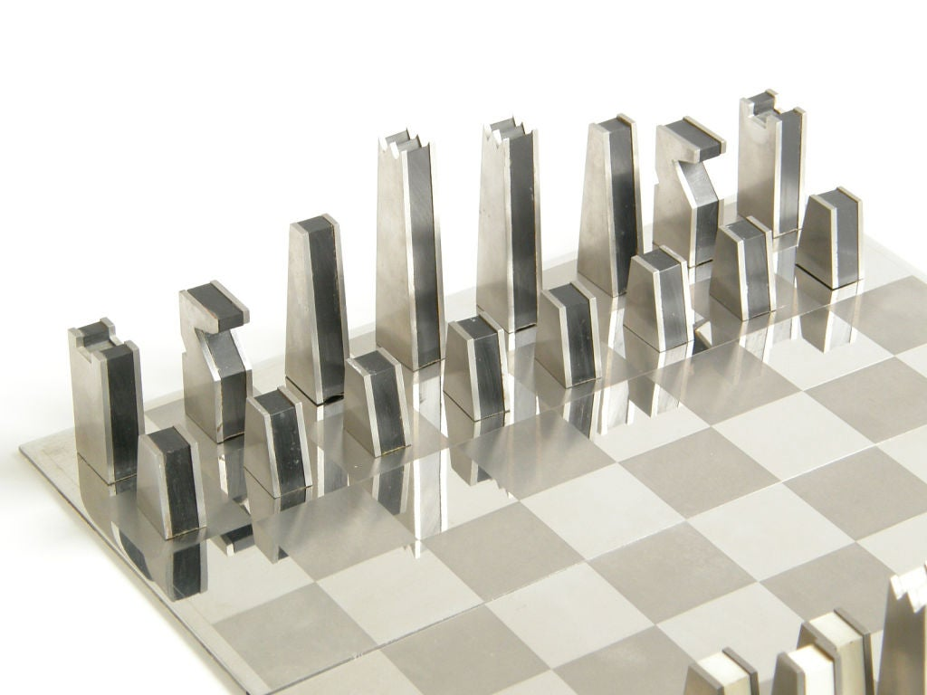 Steel Chess Pieces Stainless Steel Chess Set At 1stdibs