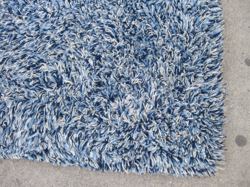 Blue Shag Rug Light Blue Shag Rug Danish Mid Century Blue Shag Rug At