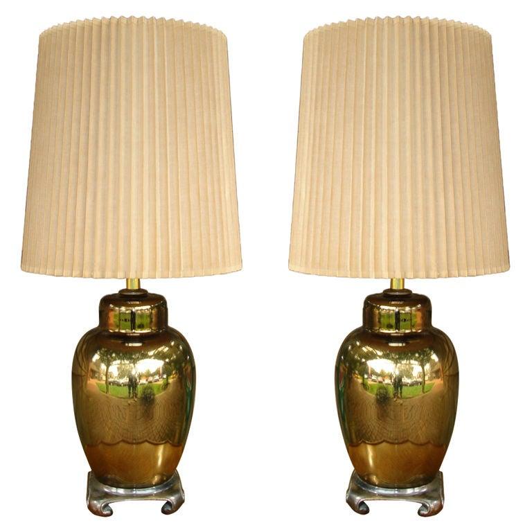 Pair of Mercury Glass Ginger Jar Table Lamps at 1stdibs