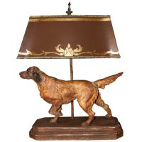 Vintage Dog Lamp with Painted Parchment Shade at 1stdibs