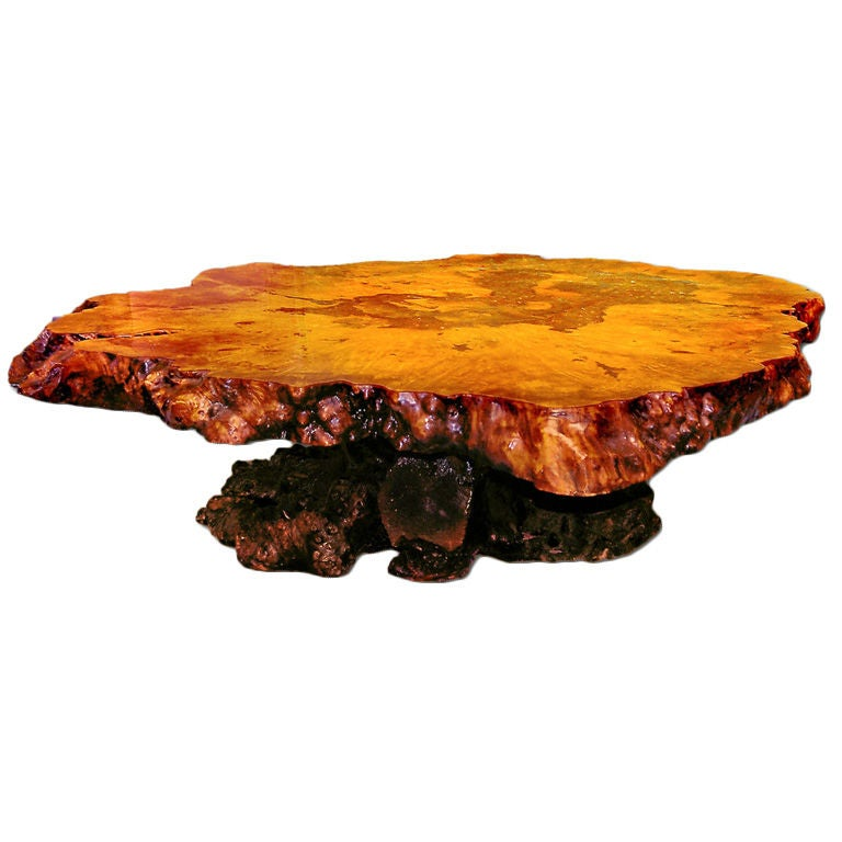 Redwood burl coffee table with irridescant carnival glass