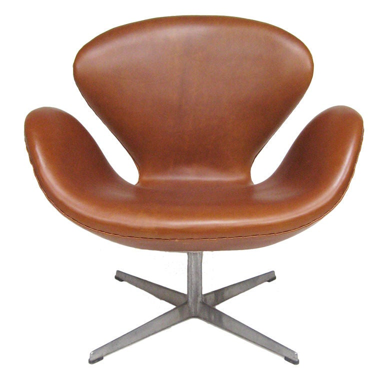 Arne Jacobsen Swan Chair Arne Jacobsen Swan Chair In Cognac Leather By Fritz Hansen ...
