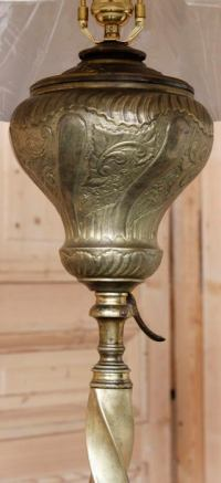 Antique Bronze, Brass and Onyx Oil Lantern Floor Lamp at