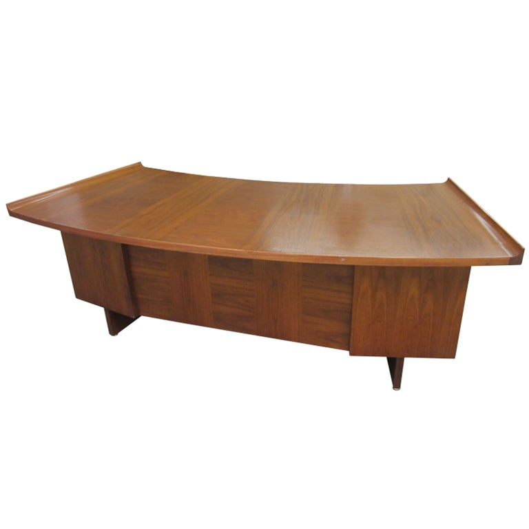 Harvey probber curved top walnut desk mid century danish