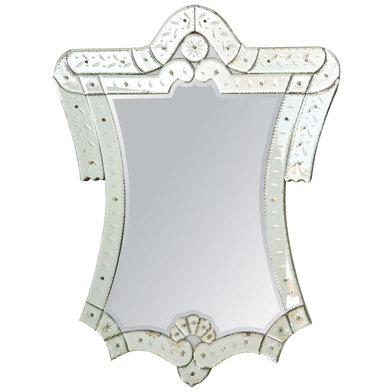Unique Shaped Mirror Unusual Cartouche Shaped Venetian Mirror At 1stdibs