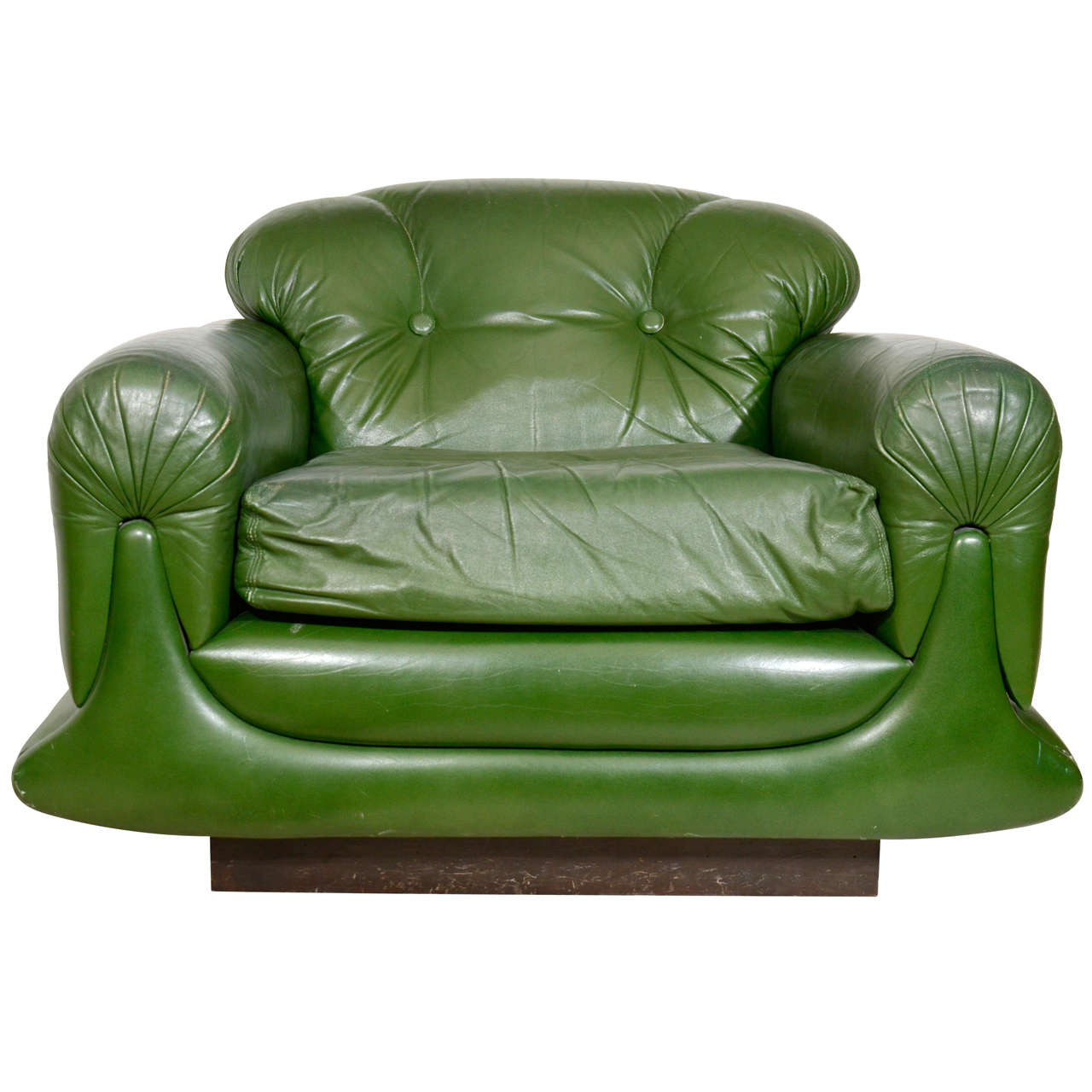 Overstuffed Wingback Chair Mod Overstuffed Green Leather Lounge Chair