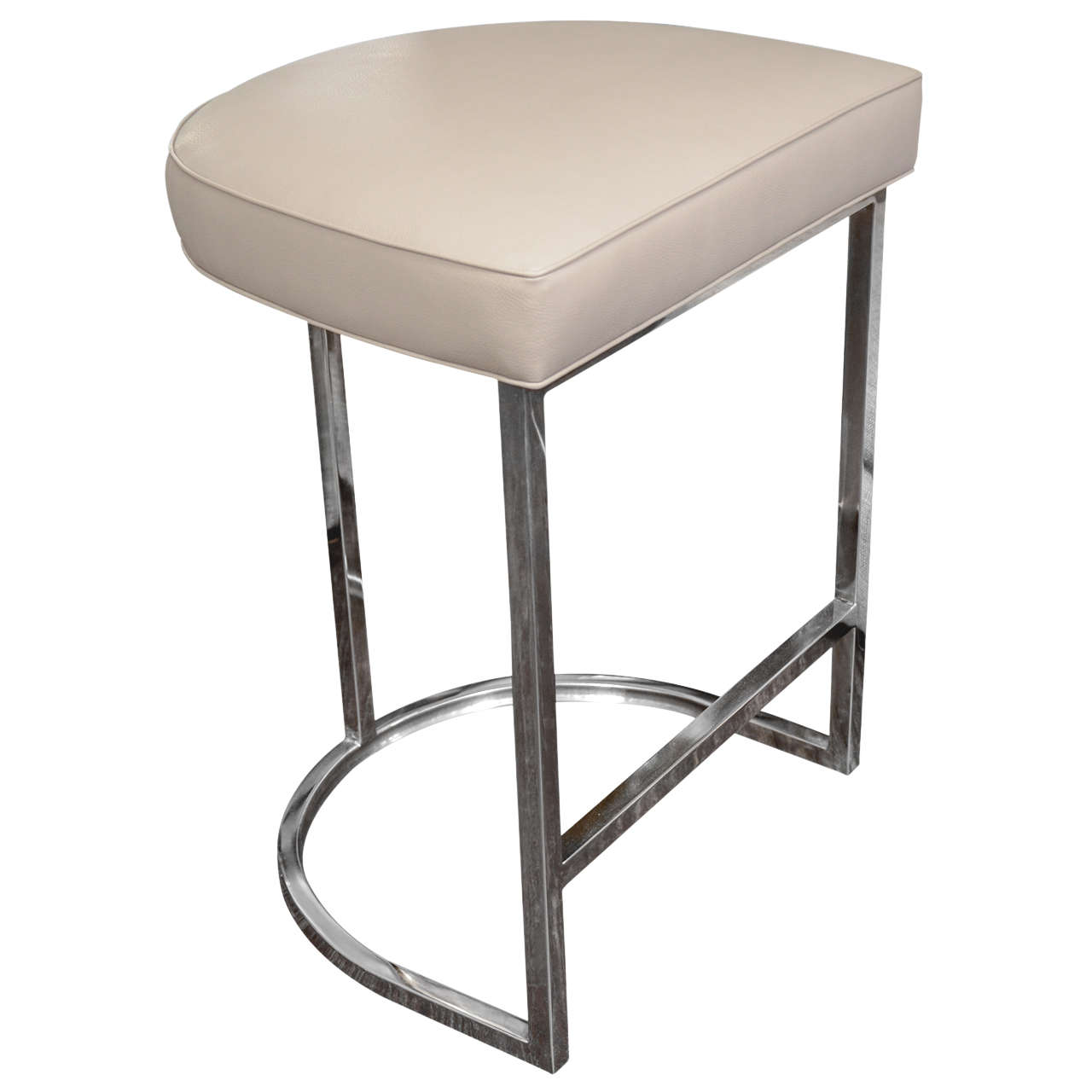 Stainless Bar Stools Single Bar Stool With Mirrored Stainless Steel Base At 1stdibs
