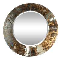 Round Antiqued Glass Mirror at 1stdibs