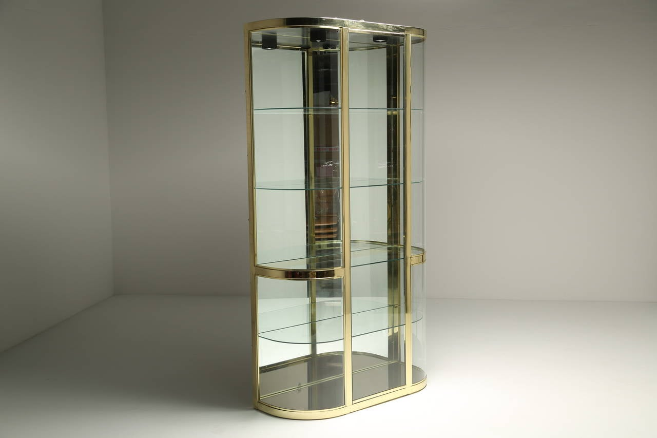 Glass Vitrine Curved Glass And Brass Dia Vitrine Display Cabinet At 1stdibs