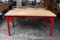 Butcher Block Restaurant Prep Table with Painted Metal ...