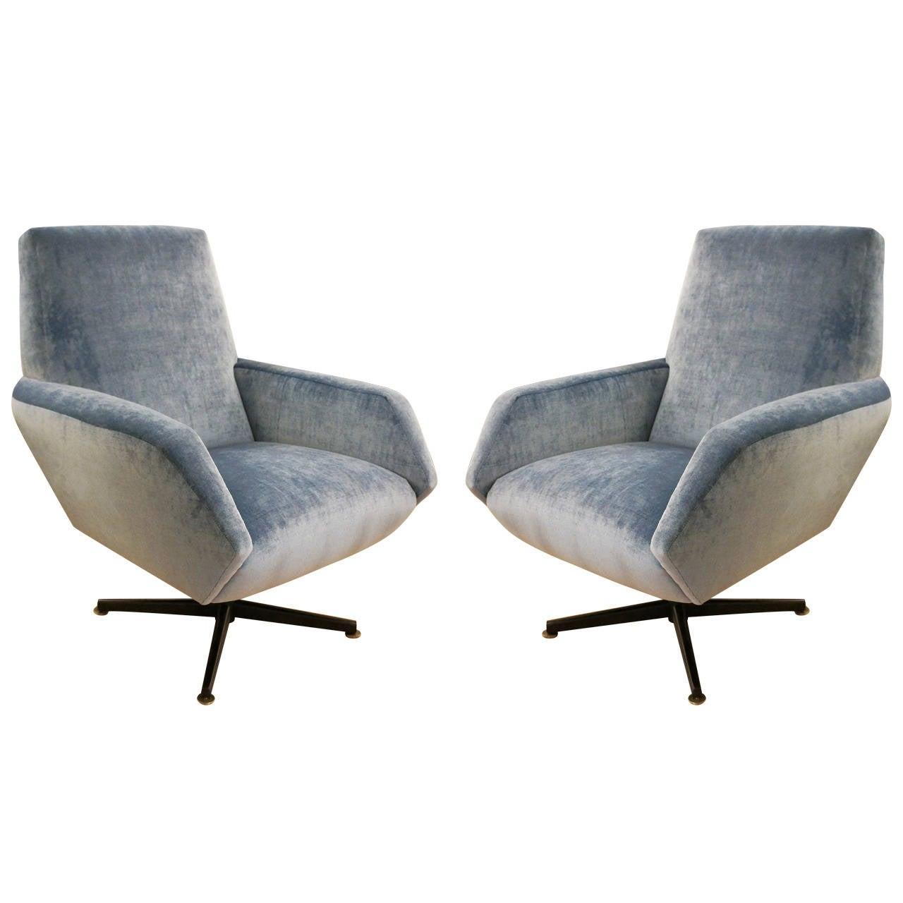 Italian mid century swivel lounge chairs at 1stdibs