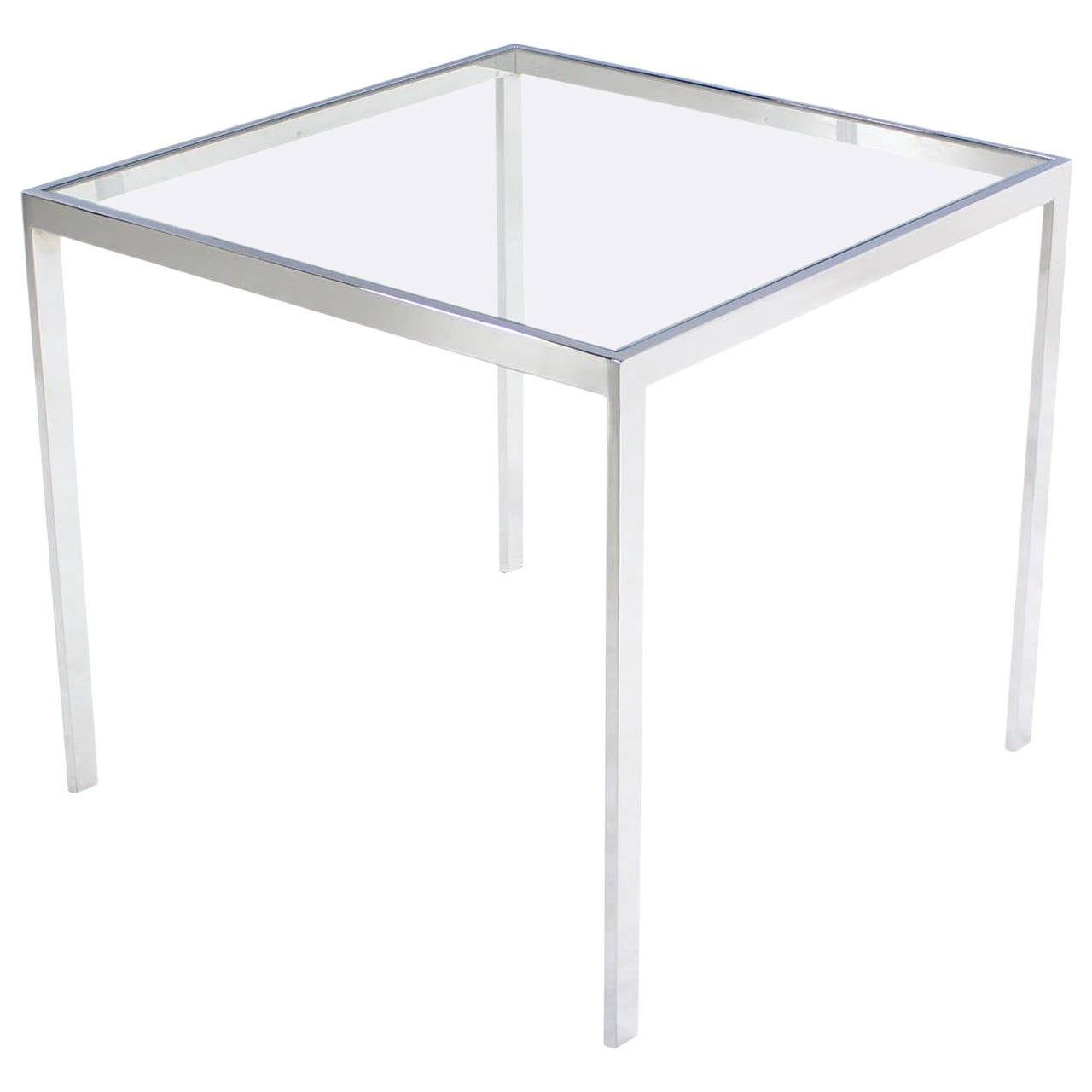 Square Glass End Tables Square Chrome And Glass Side Table At 1stdibs