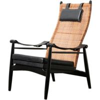 Muttendam Mid-Century Rattan and Leather Armed Lounge ...