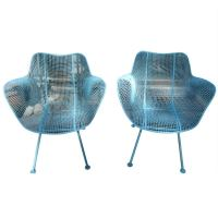 Pair Woodard Mesh Sculptra Patio Lounge Chairs Mid-century ...