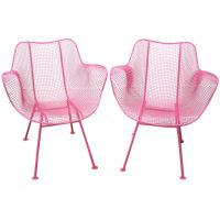 Fun Pair of Pink Woodard Mesh Sculptra Patio Chairs Mid ...