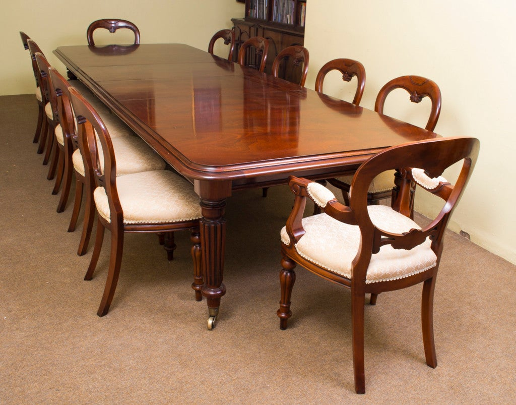 Dining Set 12 Chairs Vintage Mahogany Dining Table And 12 Chairs At 1stdibs
