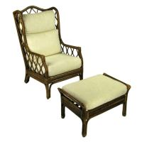 Rattan and Cane Wing Chair With Matching Ottoman at 1stdibs