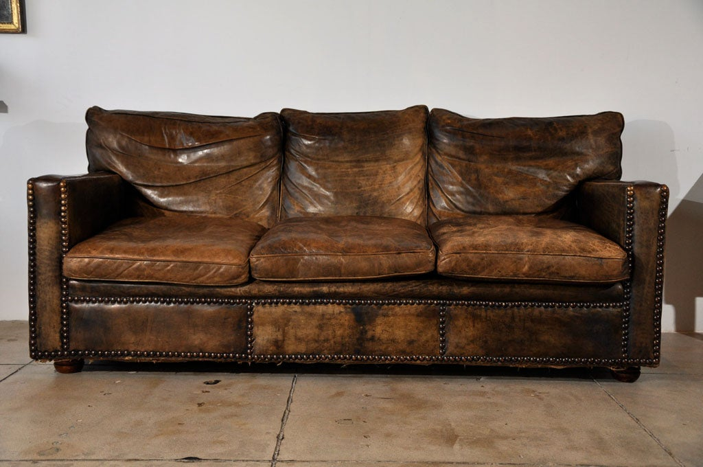 Vintage Ledercouch Vintage Custom Leather Sofa Ca 1930 At 1stdibs